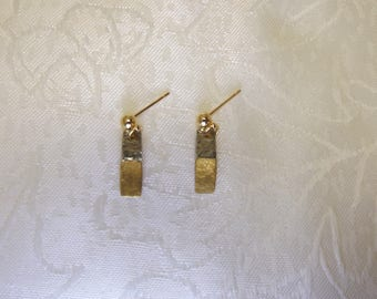 Hand Forged and Hammered Silver Stud Earrings with Gold Detailing
