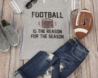 Football Is The Reason For The Season Tee..Gameday Tee..Printed Tailgating Tee..Preppy Game Day Tee..Grey Football Shirt..Varsity Stripes
