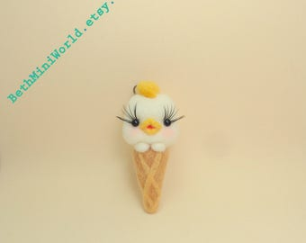 Needle felted Chicken Miniature-Ice Cream-Pendant-Charm-Cell Phone,Bag, Purse,Necklace, Brooch,...-Gift-Ooak- Ready to Ship