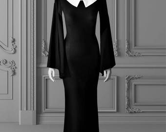 Morticia Wednesday Addams gothic dress