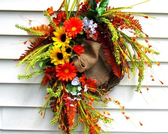 Fall wreath, Autumn wreath, fall door wreaths, front door wreath, grapevine wreath, thanksgiving decor, sunflower wreath, fall decorations