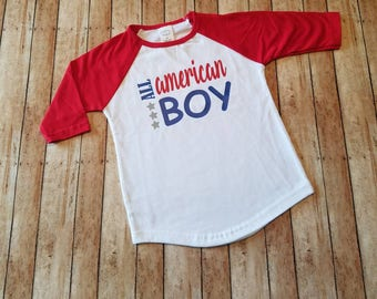 ALL American Boy!! 4th of July! Independence Day! Raglan Baseball style tee! Available in red, gray and blue! Red, white and blue!!