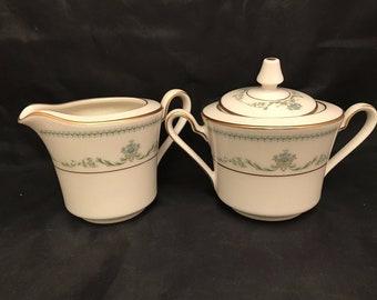 Vintage Noritake Blakesley Pattern #7554 Sugar Bowl w/ Lid & Creamer