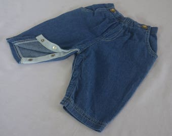 Baby's First Jeans, Four Pocket Baby Pants, Super Soft Denim, Snaps on Crotch, Double Stitched, Sizes Newbown & 3 Months