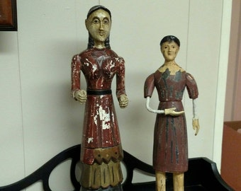 Hand Carved Wooden Folk Art Statues