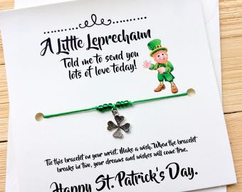 St Patricks Day Women St Pattys Day St Patricks Day Mom St Paddys Day Saint Patricks Day St Patrick's Day Wish Bracelet St Patricks Day Gift