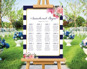 Modern wedding seating chart, navy blue wedding seating plan, gold glitter, personalize wedding sign, bohemian wedding