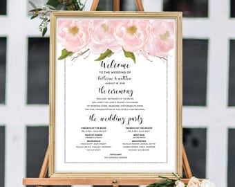 Wedding Program Sign, Ceremony Program Sign, Personalize Wedding Ceremony Sign, Blush Watercolor Peonies, Silver Glitter #SG002