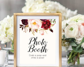 Photo Booth Sign. Wedding Photo Booth, Photo Booth Sign Printable, Grab A Prop And Strike A Pose, Printable Wedding Sign, #B510