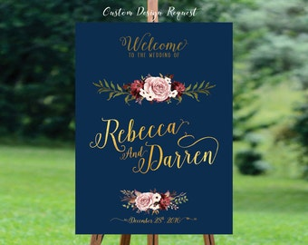 Printable wedding sign, Wedding Welcome Sign, Welcome wedding sign, Gold wedding sign, Navy blue Wedding Sign - US_WS0603