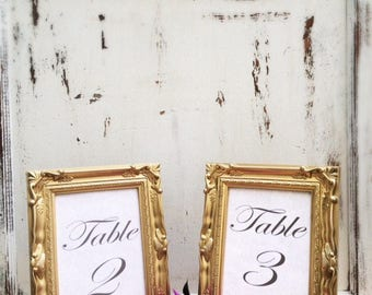 SET OF 20, 5x7, Wedding Table Number Frames, Gold, French Country, Ornate, Baroque, Vintage Antique Style, Shabby Chic