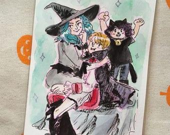outer senshi family halloween original painting