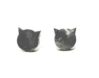 Marbled Concrete Cat Earring