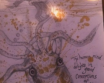 Original Jules Verne Inspired Sea Monster Sketch A4 using mixed media Art pencil