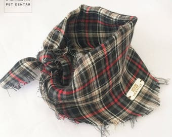 Plaid Dog Bandana no 4 New Style , Pet Scarf, Scarves, Shawls, Pet Accessories, Summer, Neckerchief, Black, Red, White, Brown