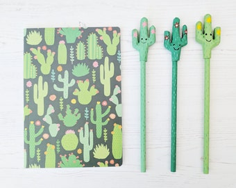 Cactus Notebook / Cactus Stationery Set - A5 Notebook and Pencil Set - Cacti Stationery - Cactus Gift - Cute Stationery - Gift for Her