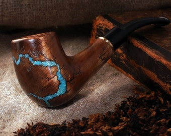 "Smoking pipe ""Lightning""with Turquoise and Fluorescent -Tobacco smoking pipes -Exclusive Wood Pipe -Smoking bowl-Tobacco bowl-Christmas gift"