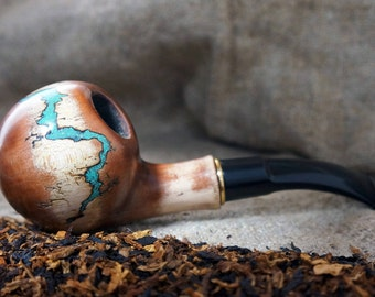 """Tobacco pipe """"Lightning""""with Turquoise-Tobacco smoking pipe-Tobacciana pipe-Wood Pipes-Smoking bowl-Wood carved smoking pipes-Christmas gift"""