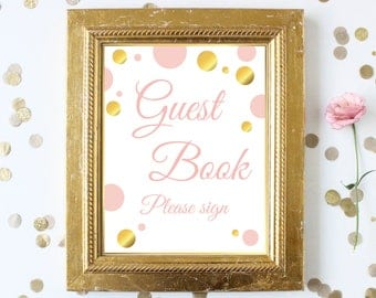 Guest Book Sign ~ Pink Gold Bridal Shower~Polka Dot Shower ~ Party Printable Sign GldBridal20