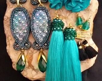 soutache earrings interchangeable, soutache, soutache jewelry, soutache jewels, soutache embroidery, handmade earrings, tassel earrings