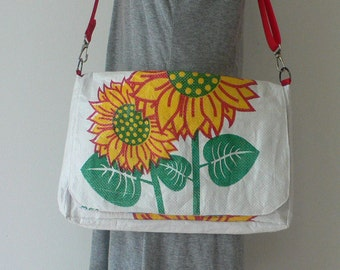 Upcycled messenger bag hancrafted from a recycled sunflower rice bag