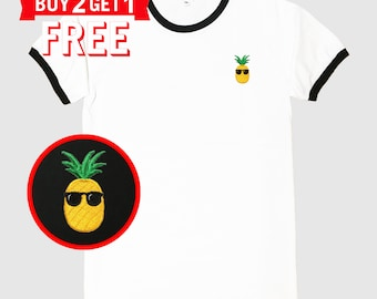 Pineapple Embroidered Ringer T-Shirt by 24PlanetsStudio