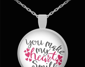 You Make My Heart Smile Necklace Valentine's Day Jewelry Gift Anniversary Birthday I Love You Marry Me Be Mine Gift