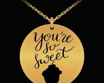 You're So Sweet Cupcake 18K Gold Plate Necklace Valentine Jewelry Gift Anniversary Birthday I LOVE You Engagement Gift