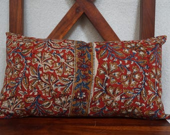 Golconda 1 red series: cover 30x50cm (12 x 20 inches) cushion, cotton kalamkari Indian, floral, red, ochre and blue background.
