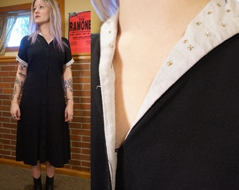 """True Vintage Black Volup Bust 43"""" Large 1940s 1950s Dress with Rhinestones and White Trim"""