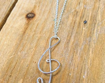 """Music Note Necklace, Wirework, Silver Plated 18"""" Chain"""
