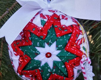 Three Inch Red and Green Candy Cane Ornament