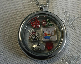 Queen of Hearts - Alice in Wonderland Inspired Bespoke Floating Charm Lockets Choice of 4 (White Rabbit/Mad Hatter/Gifts for Her)