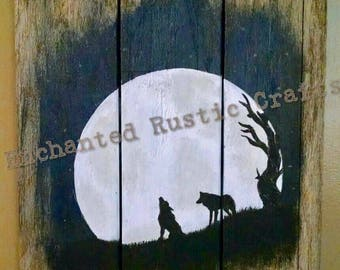 Barn wood wolf silhouette, Wolf, Wolf Painting, Wolf Silhouette, Wolf Wall Art, Wolf Rustic Art, Christmas, Howling Wolf, Wolf Moonlight