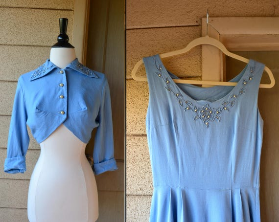 Forget Me Not Dress Set | vintage 40's sky blue fit 'n flare cocktail dress and jacket | xs