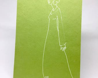 Simple design in white on green paper, decorative gift - female character on green background