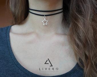 STAR choker. Choker with STAR pendant. Double choker with star. Choker with star. STAR pendant. Black choker. Double choker. Pendant choker