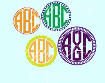 Circle monogram Font - HFC 027 -SVG Font, Svg Files, Svg Monogram Font, SVG Cutting Fonts, Digital File, Instant Download, Comercial Use