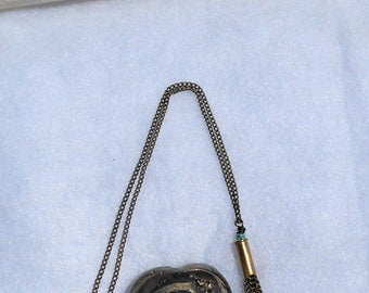 Bullet .22 Tassel Necklace with Lapis chips