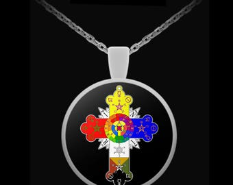 Rosicrucian etsy esoteric necklace rosicrucian lamen symbol rose cross occult gift accessories mozeypictures Image collections