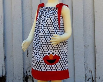 Elmo Pillowcase Dress // Elmo Dress // Toddler Dress // Personalized // Monogram // Sesame Street // Navy with Large White Dots