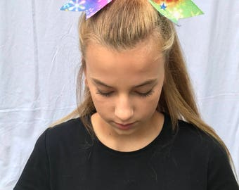 Multi Color Snowflakes & Stars Cheer Bow