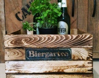 Beer garden wooden crate, gifts for men, basket, gift box, crate, storage box, wooden crate, crate, crate, men's Gift