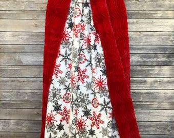 MINKY ADULT BLANKET. Christmas Snowflakes. Christmas Minky. Minky Blanket