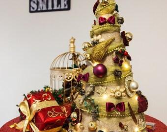 Unique Vintage Table Christmas Tree 50 cm Handmade Chic Festive Home Christmas Decor