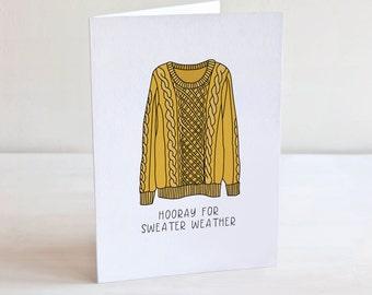 Sweater Weather Greeting Card, Fall Season Card, Pumpkin Spice Latte, Fall & Winter Card