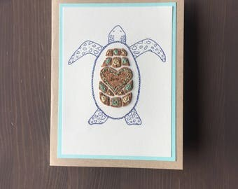 Handmade Sea Turtle Card (crafted with ink pen, cork paper, thread) | Hand Sewn Card | Love Card | Just Because Card | Blank Inside