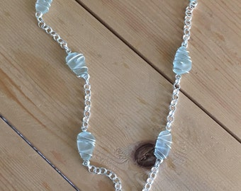 Seaglass and crystal starfish silver necklace