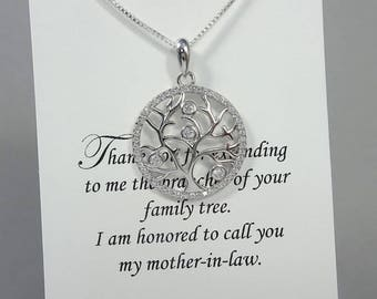 Mother in Law Gift, Mother of the Groom Gift, Tree of Life Necklace, Sterling Silver Tree of Life Necklace