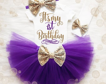 Baby Girl 1st Birthday Shirt | 1st Birthday Girl Birthday Outfit | 1st Birthday Tutu Set | Cake Smash Outfit | Purple And Gold 1st Birthday